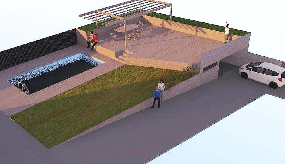 Terrasse Mit Pool Garten Und Garage Architekt Dipl Ing Axel Kos